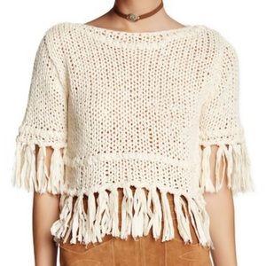 Free People Crochet Fringe Bohemian Sweater L